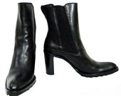 Kenneth Cole Pull-On Black Leather Boots, Made In Italy, Size 8.5M, Vintage, Never Worn