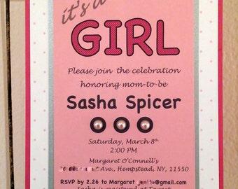 Pink & Pearl Baby Shower Invitations - Custom Invitations