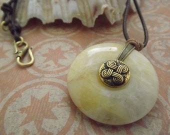 Bohemian Cream Quartz Pendant with Celtic Button and Leather