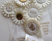 Vintage Equestrian Show Prize Rosette Ribbons - Lot of 6  White Satin Ribbons - Altered Art - (#1)