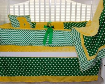 Custom baby bedding 6 pc set John Deere, green and yellow, polka dot, minky, chevron