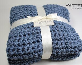 "Crochet Baby Blanket Chunky Afghan Square - Beginner PATTERN 30"" x 30""/(76 x 76) cm - PDF 3030"