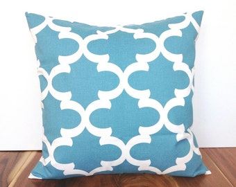 CLEARANCE 50% OFF Moroccan Decorative Throw Pillow Cover. 20X20 Inches. Couch Pillow Cover. Blue and White Quatrefoil