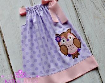 Owl Birthday Dress - Owl Dress - Girls Birthday Dress - Girls Dress - Birthday Dress - Owl pillowcase dress