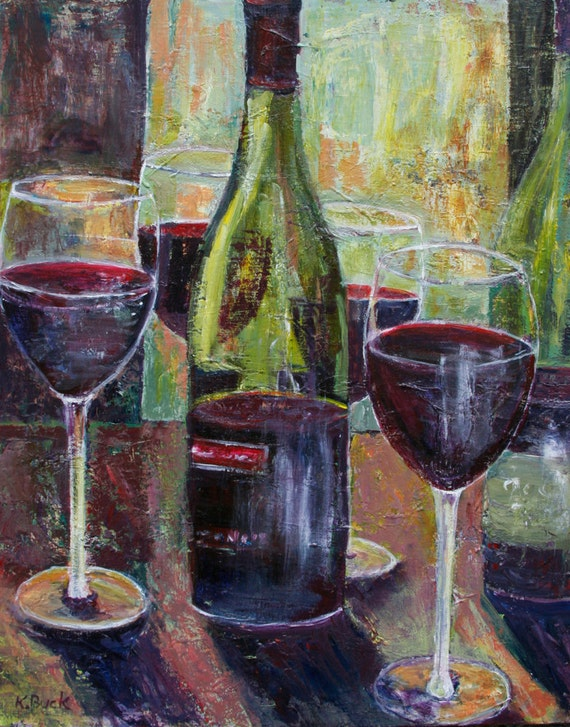 Items similar to original art acrylic painting pinot noir for Acrylic paint on wine glasses