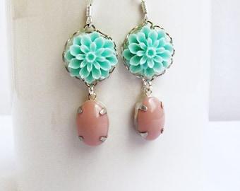 Flower Dangle Earrings, Teal  Earrings, Dangle Bridesmaid Earrings