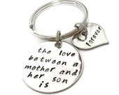 """SALE: Mother and SON Key chain """"The love between..."""" hand stamped quote keychain by Moonstone Creations"""