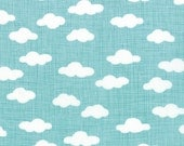 Blue and White Cloud Fabric - Storybook by Kate and Birdie Paper Co from Moda 10 Inches - End of Bolt