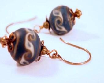 SALE Victorian Style Earrings Brass Blue Lampwork Beads Brass Beaded Pierce Earrings. OOAK Handmade Earrings. CKDesigns.us