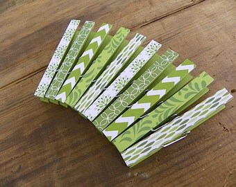 Clothespin Magnets. Set of Ten (10). Magnet Clips. Standard Decorative Magnet Clothespins. Green Chevron, Flowers, Rain Drops and Petals.