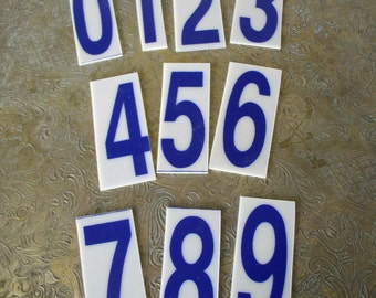 Vintage Numbers Blue Plastic Sign Numbers
