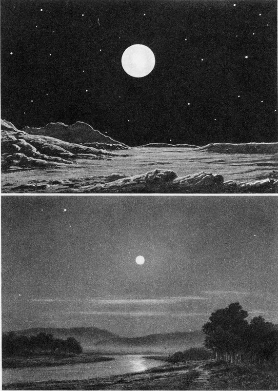 Astronomy Print Earth seen from the Moon and the Moon seen from the Earth, 1950s
