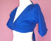 CLEARANCE Small - Tribal Belly Dance Renaissance Backless Choli Top - Royal Blue Cotton Broadcloth