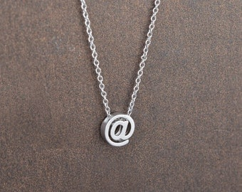 At Pendant Necklace, Silver necklace, Simple necklace, @ necklace, Gift for her, Vintage, Personalized, Christmas gift,Tiny necklace