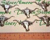 6 pcs per pack 49x24mm Longhorn Head Antique Silver Lead free Pewter.