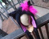 Girl's Hello Kitty Fur Hood in Black and Pink -  Monster Fur Furry Animal Hood Scoodie