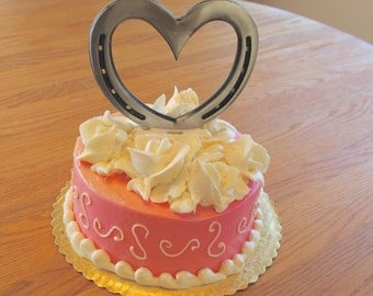 Wedding cake topper Horseshoe Heart, western country cake topper, engraving optional.