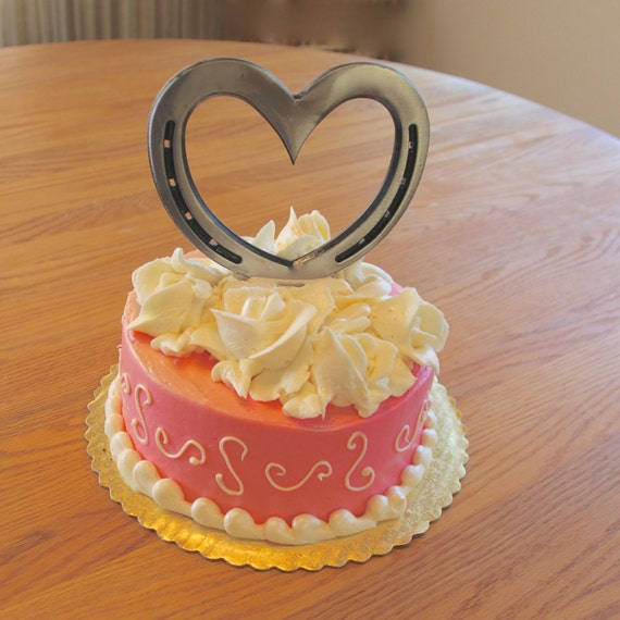 Cake Image With Name Lucky : Western Wedding cake topper Horseshoe Heart by ...