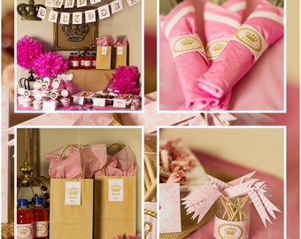 PINK and Gold Couture inspired birthday party printables