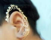 Elven/ Elf Ear Cuff Wire wrapped  Crystal -2 Non Pierced/ Fairy, Featoronro, Cartilage earring
