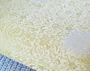 Yellow Vintage Fabric Remnant Made in Hong Kong Floral Cream and Yellow Silky