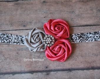 Dark Coral and Silver Rosettes on damask print elastic headband