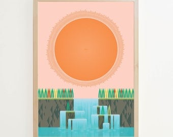 Mid-century print. 2014 Calendar typographic poster. Sun Over Waterfall, double sided print.