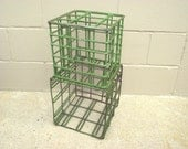 2 Stacking Vintage Industrial Metal Basket Milk Crates - End Table - Organizer - Storage Book Shelf