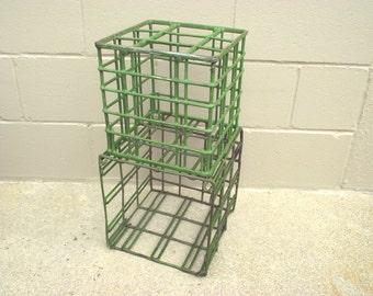 2 Stacking Vintage Industrial Metal Basket Milk Crates - End Table - Organizer - Storage Book Shelf