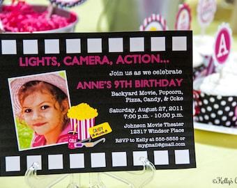 Movie Night Birthday Party Photo Invitation.... Custom, Printable, Digital