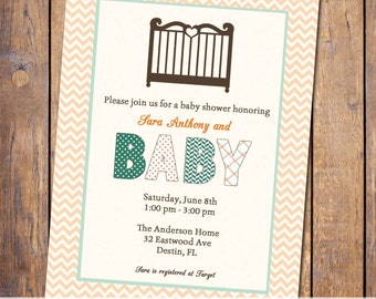 Baby crib shower invite, gender Neutral baby shower, digital, printable file, orange and turquoise (item13)