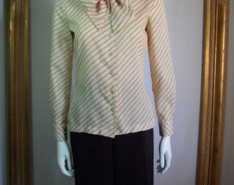 Vintage 1980's Bronson of California Cream Blouse with Burnt Orange Stripes - Size 7/8