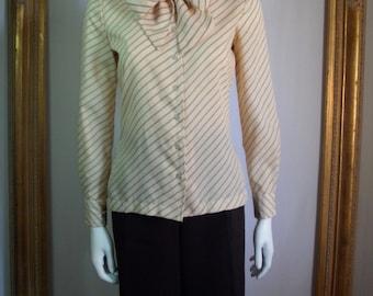 Vintage 1980's Bronson of California Cream Blouse with Burnt Orange Stripes - Size 7/8