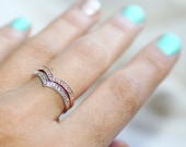 0.20ct TWO DIAMOND RINGS in 14k Rose and White Gold Set of 2 Chevron Stack Rings