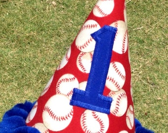 Baseball Birthday Party Hat in Red and Royal Blue