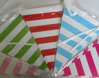 Banner Bunting Stripe Banner Striped Bunting Birthday Banner Baby Shower Banner Striped Banner Bridal Shower Banner Birthday Bunting