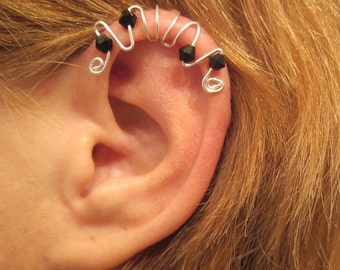 """No Piercing """"Symphony"""" Ear Cuff for Cartilage Helix Handmade 1 Cuff Color Choices"""