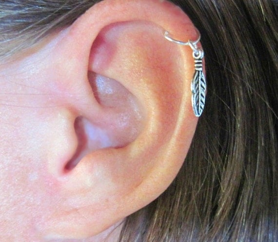 Cartilage Helix Cuff  quot One Feather quot  1 Cuff Color Choices No PiercingHelix Piercing Jewelry Cuff