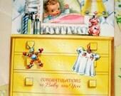 Vintage Baby Greeting Card Unused 50s Midcentury Ephemera Cottage Chic Paper New Baby Girl Kitsch Yellow Nursery Scrapbook Supplies