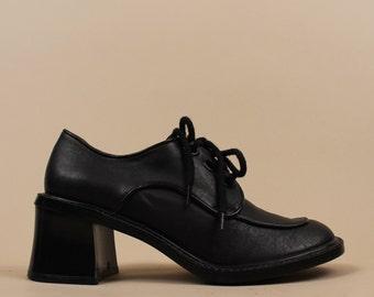 90s does 70s Vtg Oxford Lace Up PLATFORM Black Leather Brogues / Chunky Heel Spectator Shoes Mod Boho Club Kid / Esprit 8 - 8.5 Eu 38.5 - 39