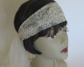 Antique Lace Headband Veil with Beading - Original 1920s  Design by Lace Sparkle Vintage
