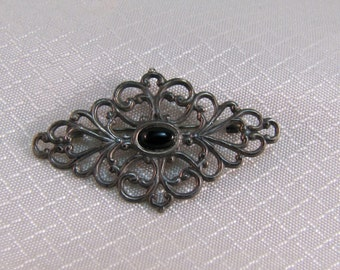 Victorian Sterling Lace Brooch with Onyx Center, C clasp