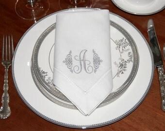 Monogrammed White Linen Hemstitched Dinner Napkins