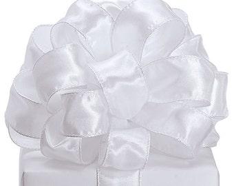 "5YDS x 2-1/2"" Pure Elegant White Satin Wired Edge RIBBON Perfect for Weddings!"