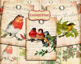 CHRISTMAS ROBIN Tags Digital Collage Sheet Instant Download for Gift Tags Cards Scrapbooking Paper Crafts