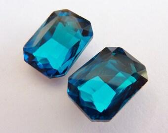 2 glass jewels, 14x10mm, teal, octagon