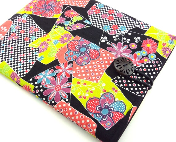 Kindle fire case,Kindle touch cover,Kindle sleeve,Nook,Kobo Padded Cover Sleeve Case Kimono pattern fabric Plum Blossom chrysanthemum Black