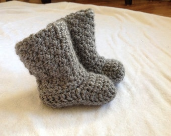 Handmade crochet baby boy booties in medium gray or make your costume order with color and size