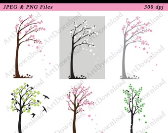 Instant Download - Blossoming trees - Digital tree, Spring trees, Trees for scrapbooking