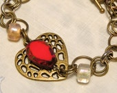 Valentine  Heart Chainmaille ox Brass Beaded Bracelet PFATT HAFAIR